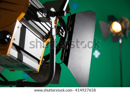 Photo Studio for the filming of chroma key - stock photo