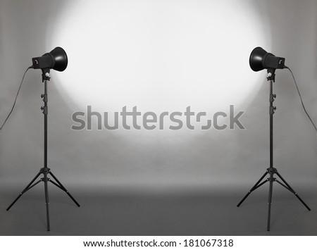 photo studio, gray background  - stock photo