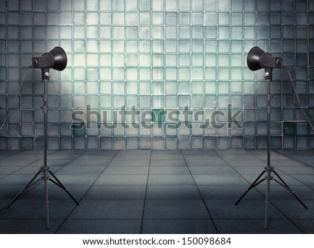 photo studio in old empty modern interior with glass wall - stock photo