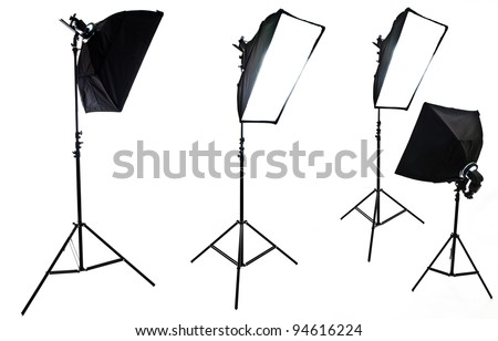 Photo studio lighting equipment isolated on white - stock photo