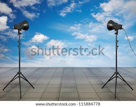 photo studio on the roof - stock photo