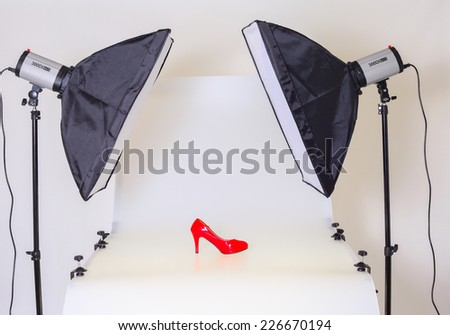 Photo table for product advertising - stock photo