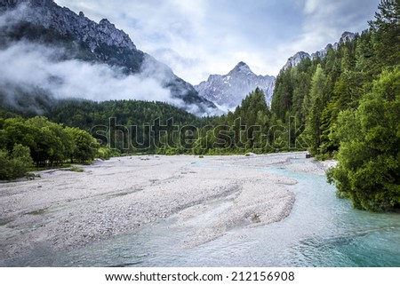 Photo taken from the road to Vrsic pass in Julian Alps, Slovenia - stock photo