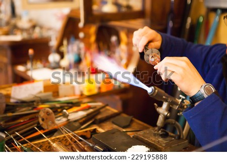 Photo taken in Lauscha in Germany, this town is well known for its traditional crafts linked to families dedicated to the art of glassblowing, specialists, especially at Christmas decorative figures.