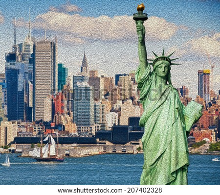 photo tourism concept for beautiful new york city skyline oil painting - stock photo
