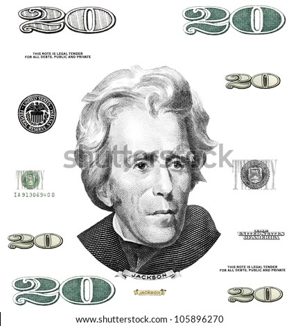 Photo twenty 20 dollar $ bill elements isolated on white background - stock photo