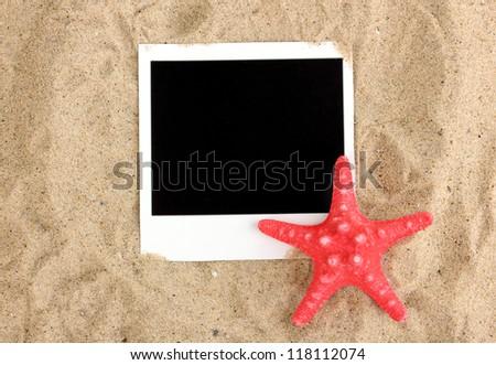 Photo with starfish on sand - stock photo