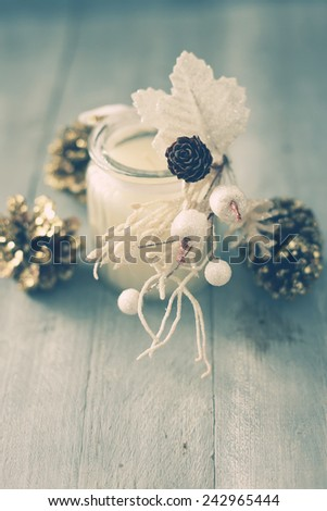 Photo with white candle and xmas deorations - stock photo
