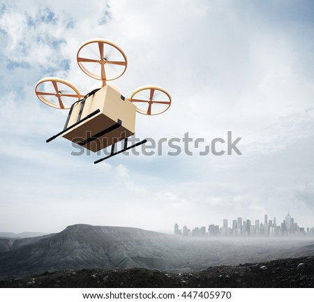 Photo Yellow Color Generic Design Remote Control Air Drone Flying Sky Blank Craft Box Under Earth Surface.Modern City Background.Global Logistic Express Delivery.Square,Bottom Angle View.3D rendering - stock photo