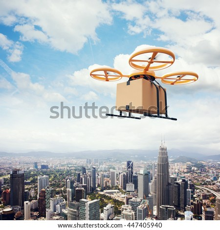 Photo Yellow Generic Design Remote Control Air Drone Flying Sky Empty Craft Box Under Urban Surface.Modern City Background.Online Orders Express Delivery.Square, Side View.Film Effect.3D rendering - stock photo