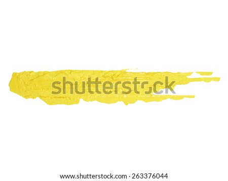 photo yellow grunge brush strokes oil paint isolated on white background