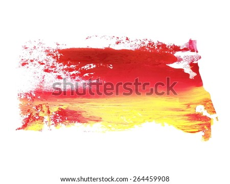photo yellow red grunge brush strokes oil paint isolated on white background - stock photo
