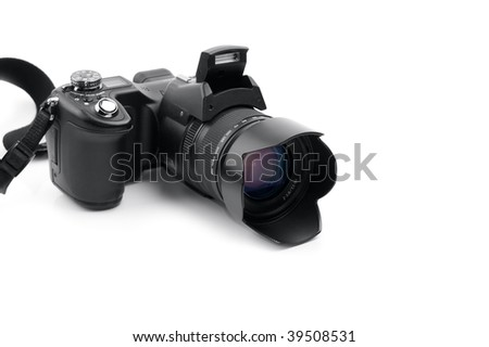 Photocamera isolated on a white background. Close-up. Macro