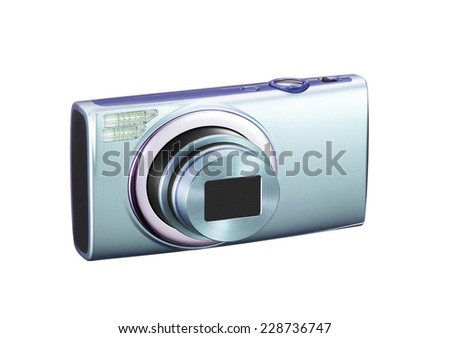 Photocamera on white background