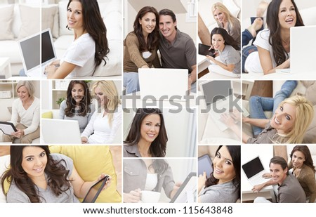 Photograph montage of people men and women at home sitting on sofas or settees using laptop computers or tablet computers smiling happy relaxed. - stock photo