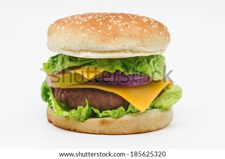 photograph of a beef burger on white background