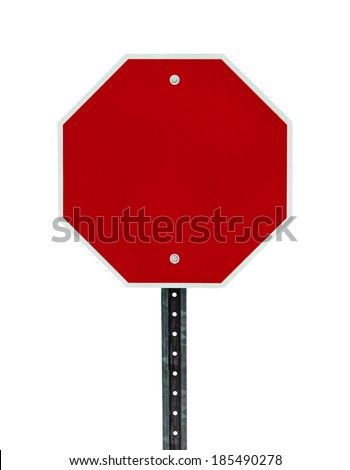 Photograph of a blank red traffic stop sign with all text letters removed. Surface grid pattern has be left intact.  Isolated on a white background.    - stock photo