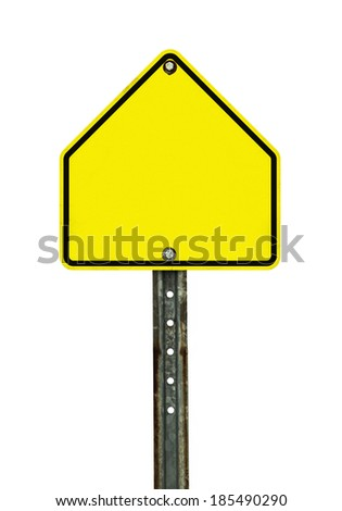 Photograph of a blank yellow green school zone traffic sign with black border. All text letters have been removed. Isolated on a white background.  - stock photo