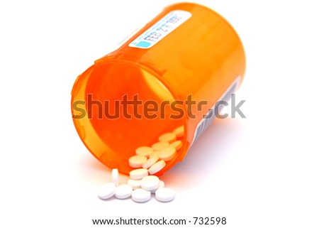 Photograph of a bottle of prescription medication - stock photo