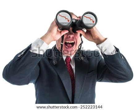 Photograph of a man in business attire looking through a pair of binoculars. Reflected in the lenses of the binoculars is a graph of a crashing market and the businessman is screaming.