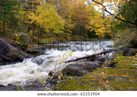 Photograph of a small waterfalls in northern Wisconsin, shot in the midst of the beautiful fall colors. - stock photo