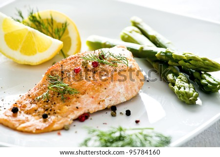 Photograph of a tasty freshly cooked salmon fillet