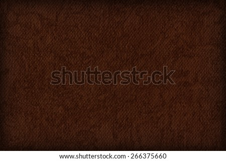 Photograph of Artist Burnt Umber Primed Cotton Duck Canvas coarse, bleached, mottled, vignette grunge texture. - stock photo