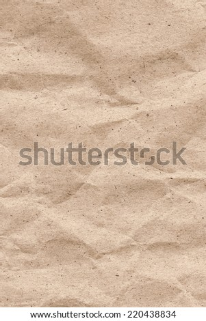 Photograph of Beige Recycle Paper, coarse grain, crumpled grunge texture sample.