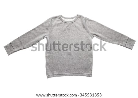 Photograph of  blank gray long sleeve shirt isolated on white background.