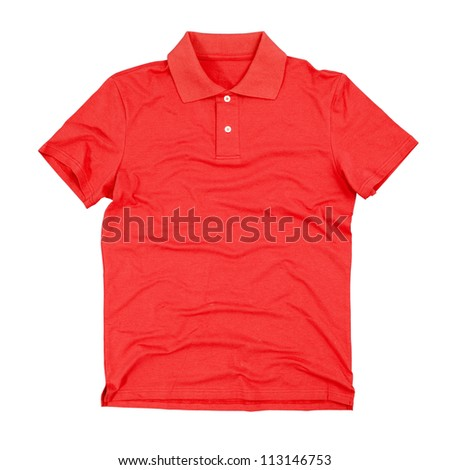 Photograph of blank polo t-shirt isolated on white background. Clipping paths included.