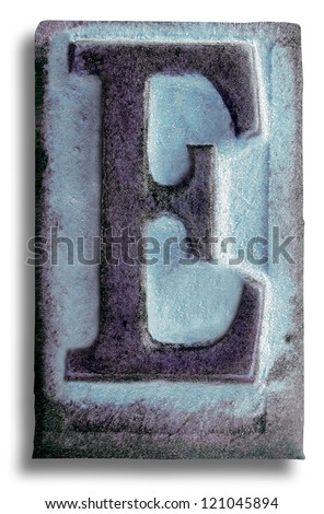 Photograph of Blue Rubber Stamp Letter E