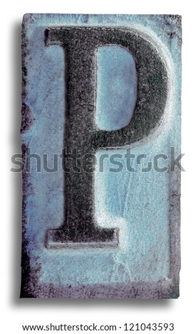 Photograph of Blue Rubber Stamp Letter P