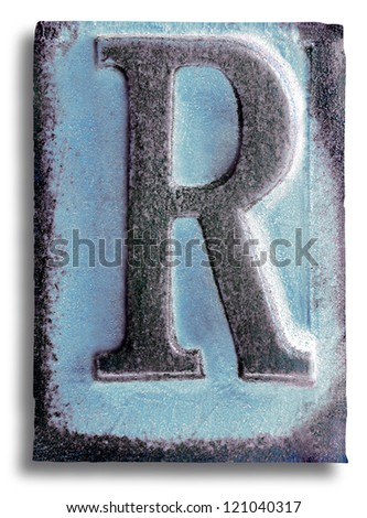Photograph of Blue Rubber Stamp Letter R