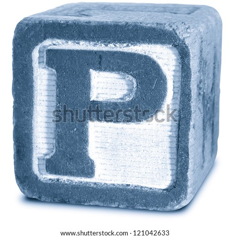 Photograph of Blue Wooden Block Letter P