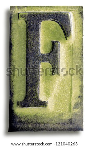 Photograph of Green Rubber Stamp Letter F