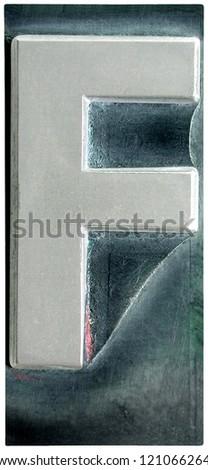 Photograph of Metal Letterpress Letter F - stock photo