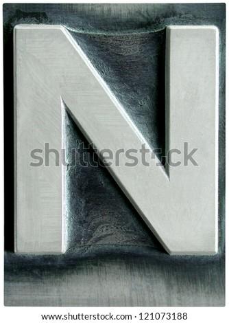 Photograph of Metal Letterpress Letter N - stock photo