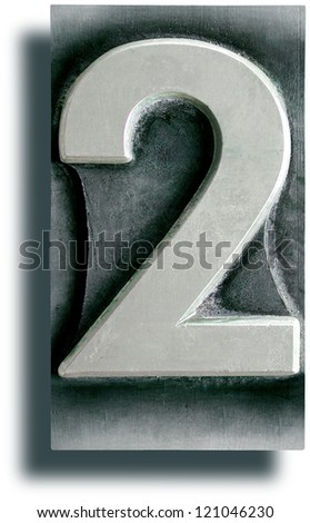 Photograph of Metal Letterpress Number 2 - stock photo