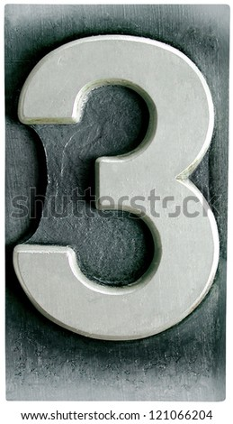 Photograph of Metal Letterpress Number 3 - stock photo