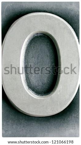 Photograph of Metal Letterpress Number Zero - stock photo