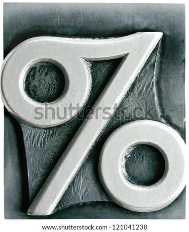 Photograph of Metal Letterpress Percentage - stock photo