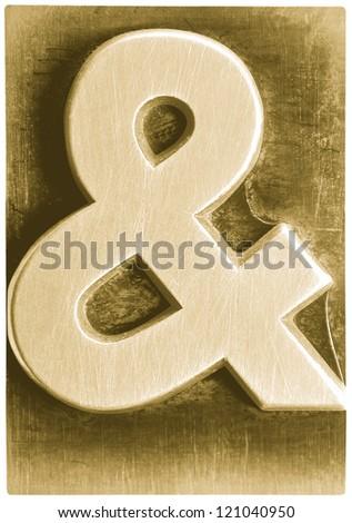 Photograph of Metal Letterpress Sepia Ampersand - stock photo