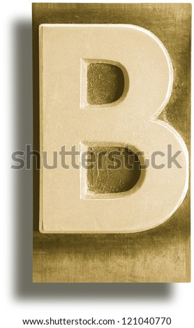 Photograph of Metal Letterpress Sepia Letter B - stock photo