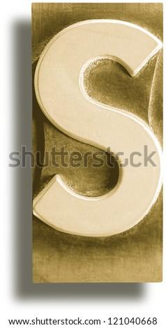 Photograph of Metal Letterpress Sepia Letter S - stock photo