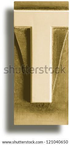 Photograph of Metal Letterpress Sepia Letter T - stock photo