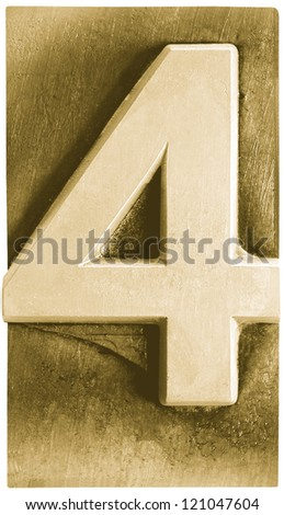 Photograph of Metal Letterpress Sepia Number 4 - stock photo