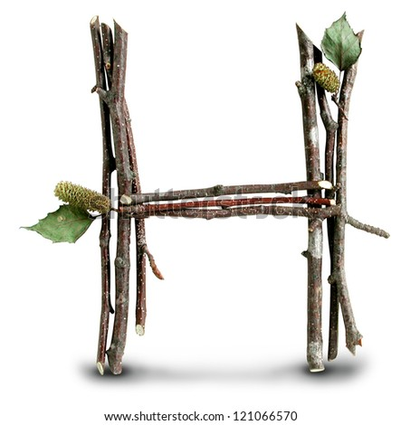 Photograph of Natural Twig and Stick Letter H - stock photo