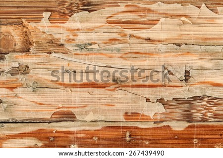 Photograph of obsolete old, weathered, varnished Wooden Laminated Panel, cracked, scratched, grunge texture. - stock photo