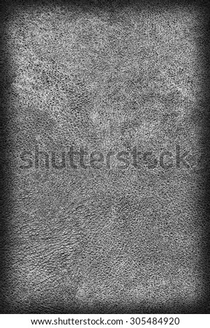 Photograph of Old, Dark Gray Cowhide, Weathered, Coarse, Creased, Exfoliated, Cracked, Vignette Grunge Texture Sample.