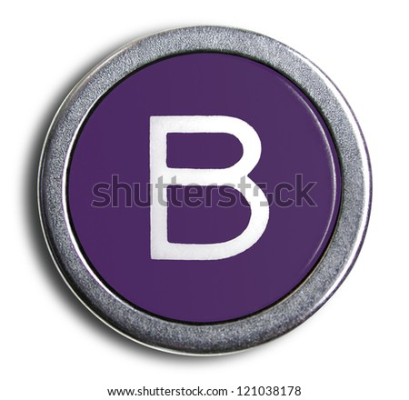 Photograph of Old Typewriter Key Letter B - stock photo
